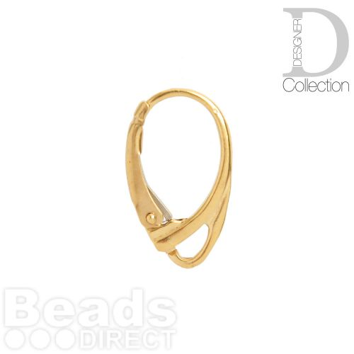 Gold Plated Ear Wires Lever Back 18mm with Loop 1xPair