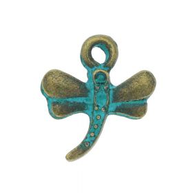 Dragonfly / charm pendant / 14x12mm / antique bronze - aqua / hole 1.5mm / 6pcs