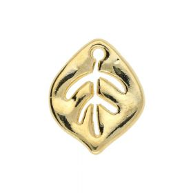 Leaf / charm pendant / 14x12x1.5mm / gold plated / 4pcs