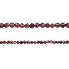 "Garnet Semi Precious Faceted Round Beads 3mm 15"" Strand"