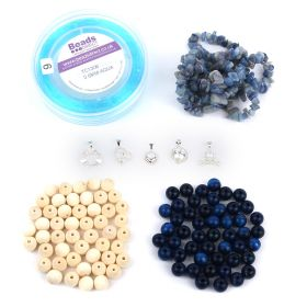Beads Direct Cherish Semi Precious and Wood Bracelets - Calming Blues