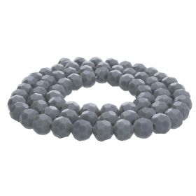 CrystaLove™ crystals / glass / faceted round / 8mm / grey / transparent  / 65pcs