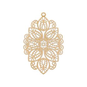 Oval / pendant filigree / surgical steel / 49x29mm / dark gold plated / 1pcs