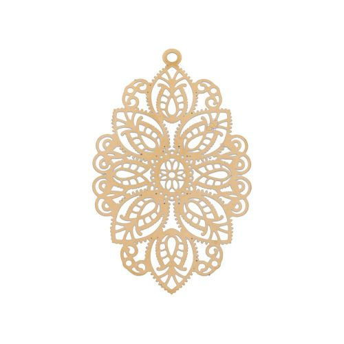 Oval / filigree pendant / surgical steel / 49x29mm / dark gold plated / 1pcs