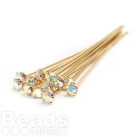 17704 Swarovski Gold Plated Headpins with AB Crystal 0.5x39mm Pk12