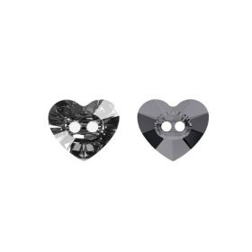 3023 Swarovski Crystal Button Heart 10.5x12mm Crystal Silver Night Pk1