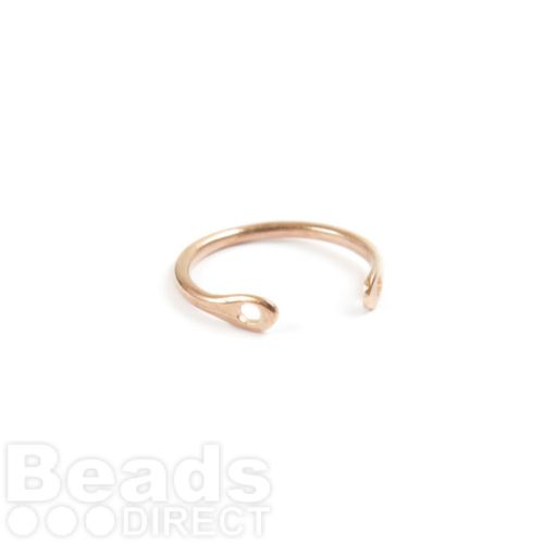 Rose Gold Plated Brass Ring Base Two Hole 2x20mm Pk1