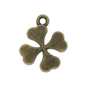 Clover / charm pendant / 18x15mm / antique bronze / hole 1.5mm / 4pcs