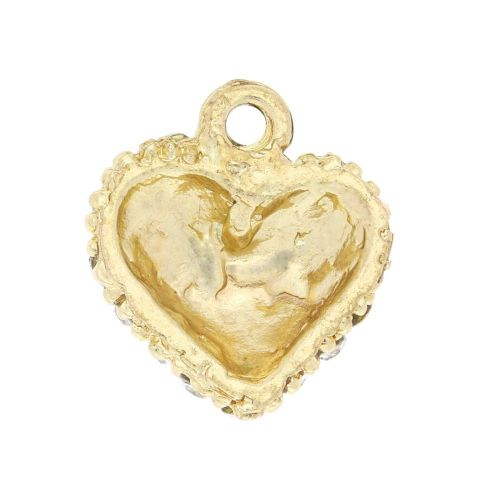 Glamm ™ Heart / charm pendant / with zircons / 15x13x6mm / gold plated / crystal / 1pcs