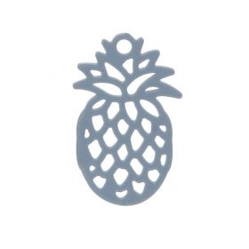 Grey Brass Filigree Pineapple Charm 9x15mm Pk10