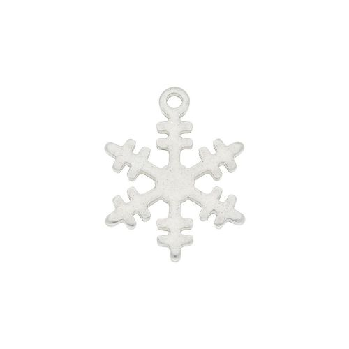 Snowflake / charm / surgical steel / 13x12mm / silver / 2pcs