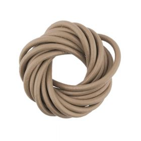 Leather cord / natural / round / 3mm / caramel / 2m
