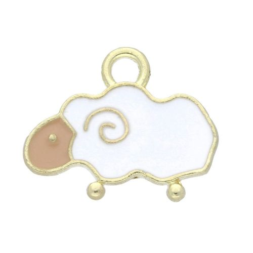 SweetCharm™ lamb / charm pendant / 14x16x1.5mm / gold-white / 2pcs