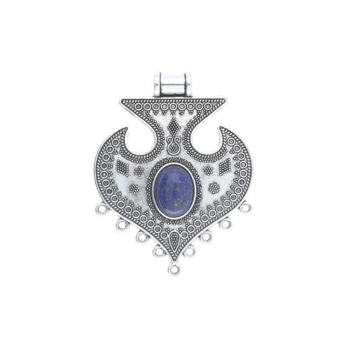 Necklace base / for 16x12mm cabochon / 65x50x7mm / silver / 1pcs