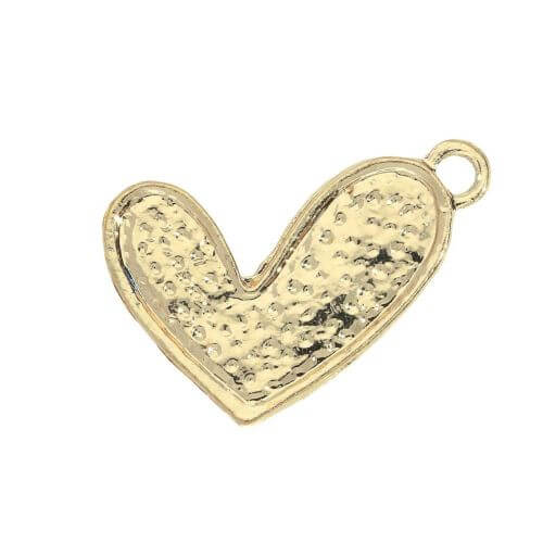 Glamm ™ Heart / charm pendant / with zircons / 21x15mm / gold plated / 1pcs