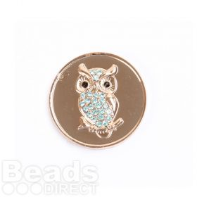 KB Small Rose Gold Plated Owl Coin Disk for Interchangeable Locket 24mm Pk1