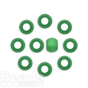 Green Matte Frosted Resin Polaris Beads 10mm Large Hole 5mm Pk10