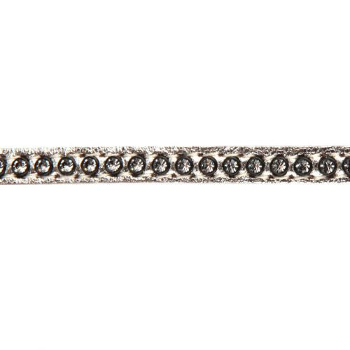 X-Silver Swarovski Real Leather with Crystals 6mm approx. 48cm