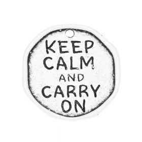 Keep calm and carry on / charm / 33x32x2mm / satin silver / 1pcs