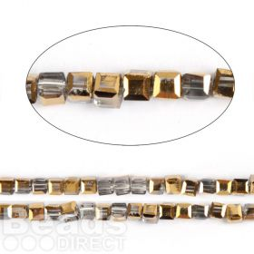 "Gold 1/2 Coated Essential Crystal Faceted Cube Beads 3mm 13"" Strand"