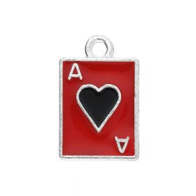 SweetCharm ™ Ace of hearts / charms pendants / 18x11x1mm / silver-black-red / gold plated  / 1pcs