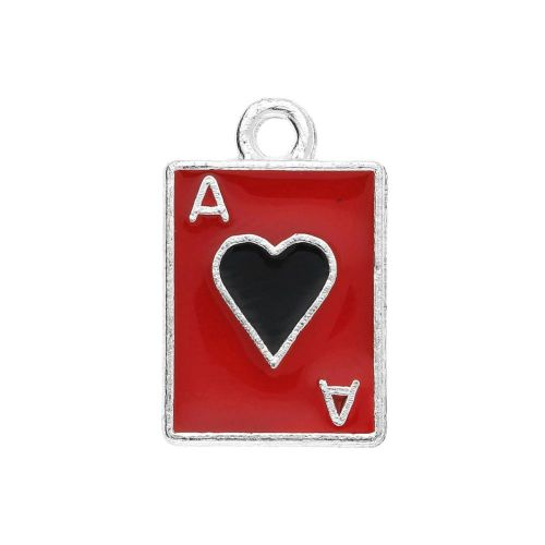 SweetCharm ™ Ace of hearts / charm pendant / 18x11x1mm / silver-black-red / gold plated  / 1pcs