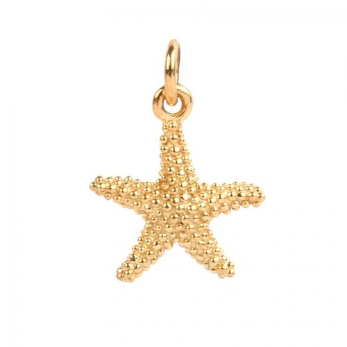 Gold Plated Sterling Silver 925 Starfish Charm 12mm Pk1
