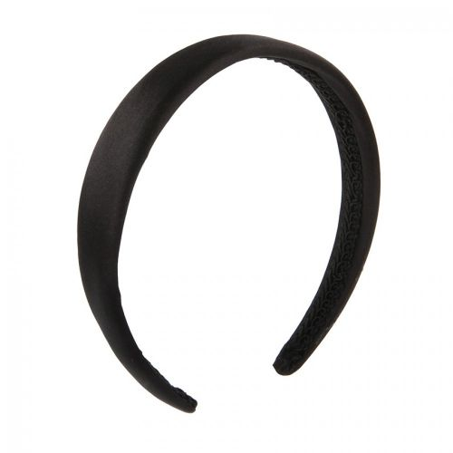 Black Satin Fabric Padded Headband Base 25mm Pk1
