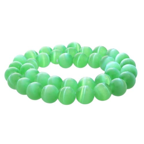 Cat's eye (synthetic) / round / 8mm / green / 50pcs