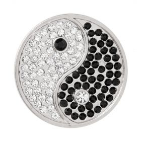 Matte Silver Plated Yin and Yang Crystal Coin Disk for Interchangeable Locket 32mm Pk1