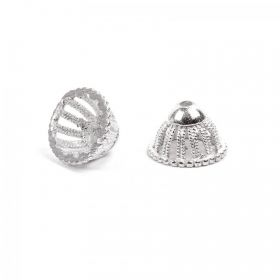 Silver Plated Bead Cone Domed Design 8x13mm Pk2