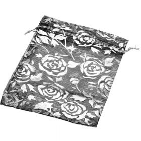 Organza bag / 10x12cm / black with silver roses / 5pcs