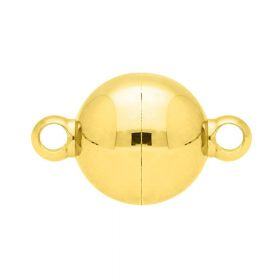 Magnetic clasp / surgical steel / sphere / 13x8x8mm / gold / 1pc