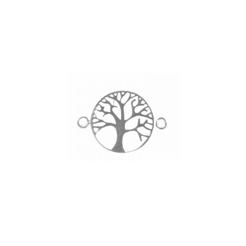 X Sterling Silver Tree of Life Connector 17mm Pk1