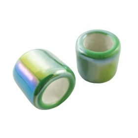 Ceramic beads / cylinder / 15x17mm / iridescent green / hole 10mm / 2pcs