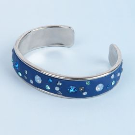 Blue CeraLun Silver Bangle Kit made with Swarovski - Makes x1