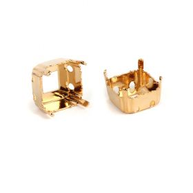 4480/S Swarovski Twin Hole Imperial Fancy Setting 6mm Gold Plated Pk2