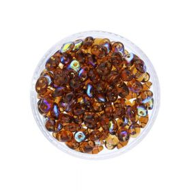 SuperDuo™ / glass beads / 2.5x5mm / AB / Smoky Topaz / 10g / ~140pcs