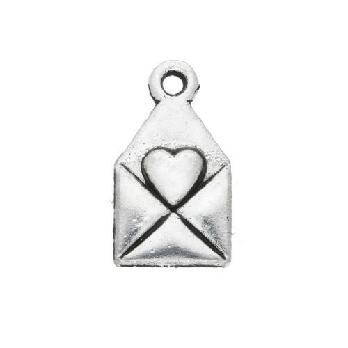 Letter with heart / Made with love / charm pendant / 13x8mm / silver / hole 1mm / 6pcs