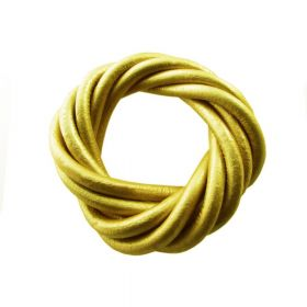 Leather cord / natural / round / 5mm / yellow / metallic / 1m