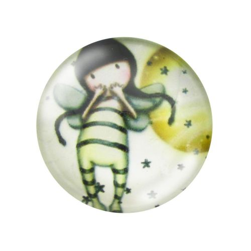 Glass cabochon  with graphics 20mm PT1498 / cream / 2pcs