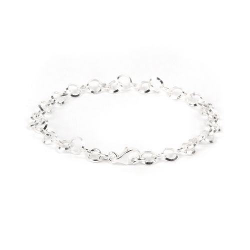X-Sterling Silver 925 Round 5mm Bracelet Chain with Clasp 17.5cm