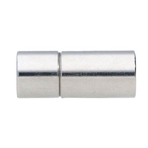 Plug-in clasp / copper / cylindrical / 17x4x4mm / silver / hole 3mm / 1pcs