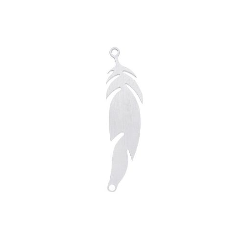 Feather / connector / surgical steel / 28x7x1mm / silver / 1pcs