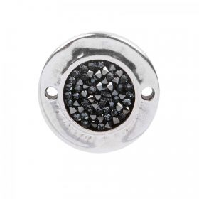 Silver Plated Zamak Connector with Swarovski Black Rocks 26mm Pk1