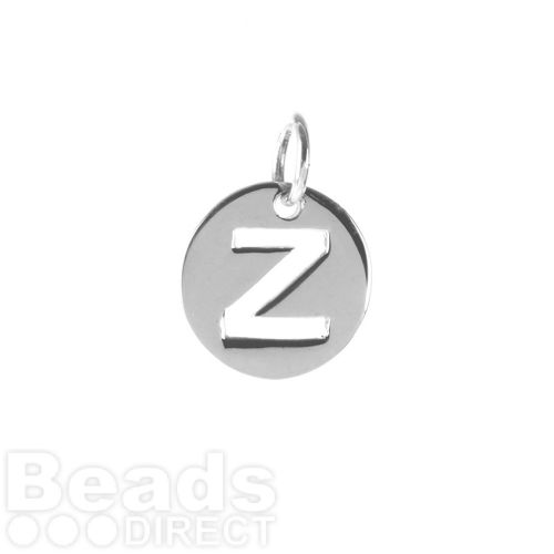 Sterling Silver 925 'Z' Letter Cut Out Charm 11mm Pk1