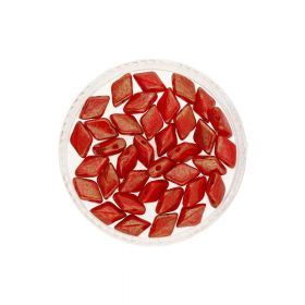 GEMDUO™ / 8x5mm / Topaz Pink Luster Opaque / Red / 5g / 35pcs