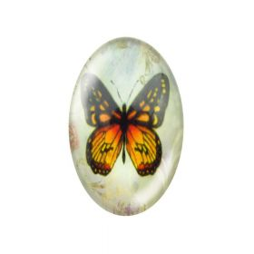 Glass cabochon with graphics 13x18mm PT1530 / black and orange / 2pcs