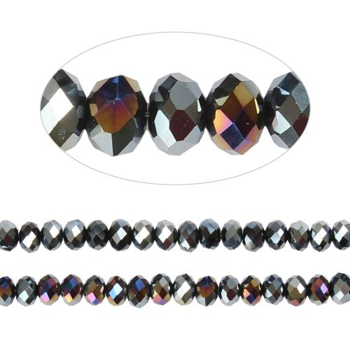 X- Essential Crystal Faceted 4mm Rondelle Jet AB 150pack