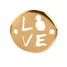 Gold Plated Zamak Love/Pineapple Connector Charm 18x20mm Pk1